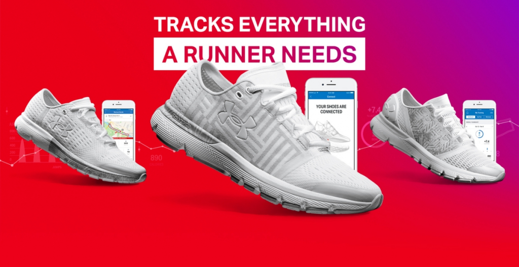 An advert for a running tracker showing 3 identical pairs of white trainers and 3 phones displaying the app