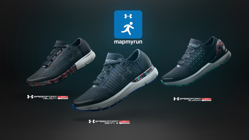 3 pairs of almost identical black trainers under the 'mapmyrun' branding